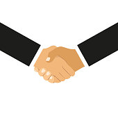 Handshake of business partners in flat design on a white background