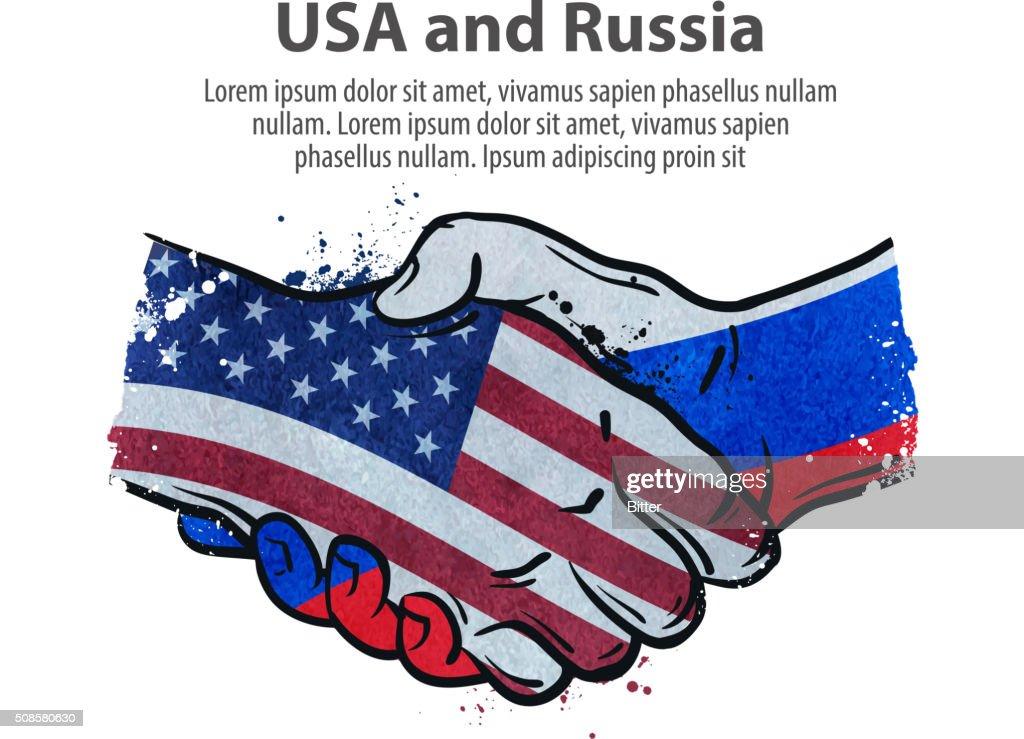 Hände schütteln. Vereinigten Staaten und Russland. Vektor-illustration : Vektorgrafik