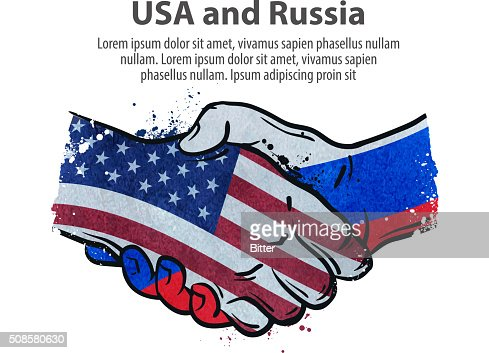 handshake. United States and Russia. vector illustration : Vectorkunst
