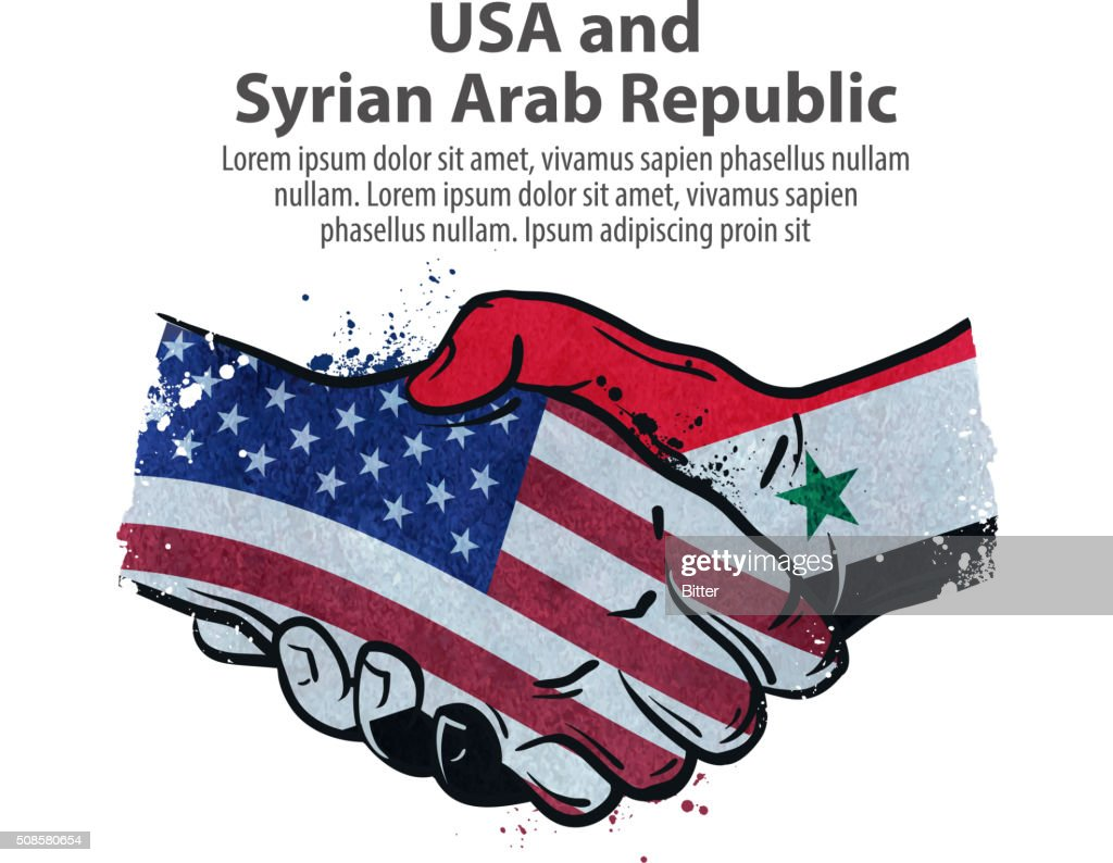 handshake. United States and Syria. vector illustration : Vector Art