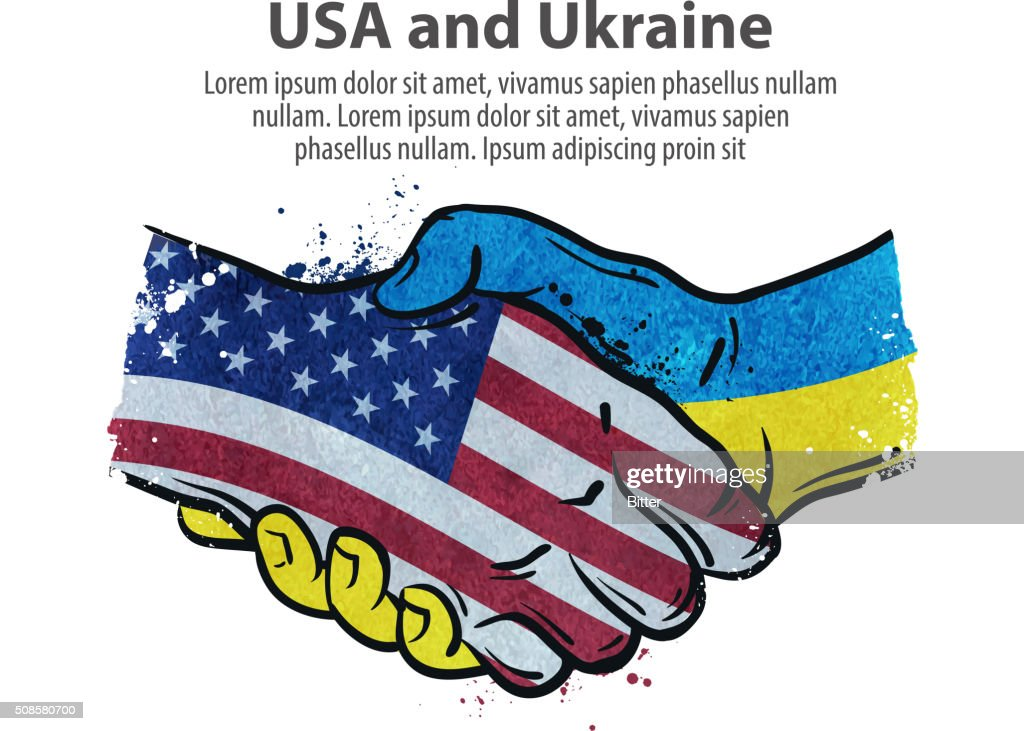 handshake. United States and Ukraine. vector illustration : Vector Art