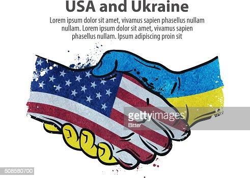 handshake. United States and Ukraine. vector illustration : Vektorgrafik