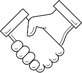 Handshake vector line icon isolated on white background. Conclusion of business deal by hand shake line icon for infographic, website or app. Business team and cooperation concept.
