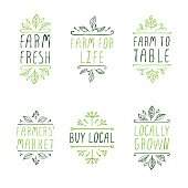Farm product labels. Suitable for ads, signboards, packaging and identity and web designs. Locally grown. Farm for life. Farm to table. Buy local. Farmers market. Farm fresh.