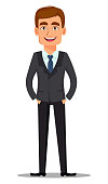 Handsome banker in business suit. Cheerful cartoon character standing with hands in pockets. Vector illustration on white background.
