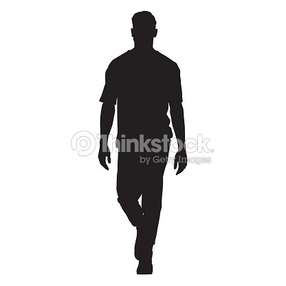 Handsome man in t-shirt walking forward, isolated vector silhouette, front view : stock vector