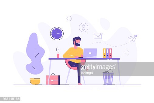 Handsome man is working at his laptop. Modern office interior with work process icons on the background. Vector illustration. : stock vector