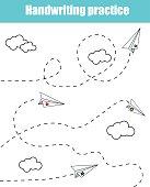Handwriting practice sheet. Educational children game, printable worksheet for kids. Writing training printable worksheet with dashed lines