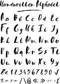 Set of hand drawn vector letters in black color