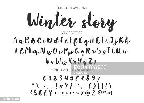 Handwritten Brush font. Hand drawn brush style modern calligraphy : stock vector