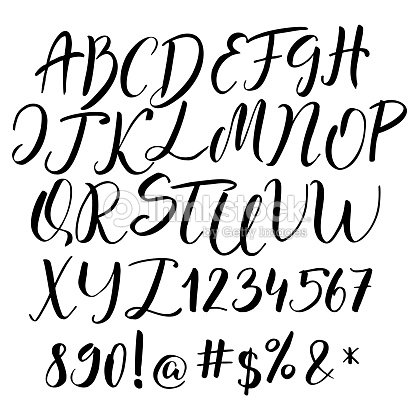Handwritten Calligraphy Font Vector Alphabet Hand Drawn Letters Art