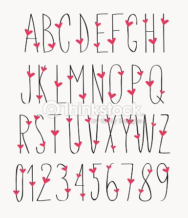 Handwritten Font Hand Drawn Sketch Alphabet And Numbers With Hearts Vector Art