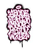 Handwritten graffiti font alphabet. Set on white background. Vector illustration EPS 10