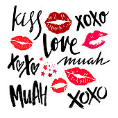 Handwritten Grunge Brush Lettering with Red Woman Lips. Vector Lipstick Kisses Isolated on White Background. XOXO, Love, Kiss and Muah Phrases on Valentines Day.