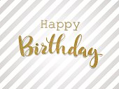 Handwritten inscription Happy Birthday in gold design. For the greeting card.