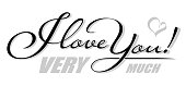 Handwritten isolated text I Love You Very Much with heart shadow. Hand drawn calligraphy lettering