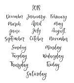 Handwritten Months, Days of Week. Modern Calligraphy. Isolated on White Background. Vector illustration for design calendar 2018, greeting card, planner, organizer, invitation.