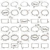 Handwritten style balloon illustration set.