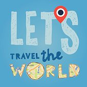 Lets go travel the world. Vacations and tourism concept, vector illustration.