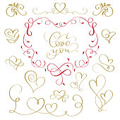 hand-written vector illustration flourish calligraphic inscription text I love you and a set of icons of hearts.