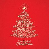 handwritten word cloud Christmas tree greeting card design with meaningful inspiring words