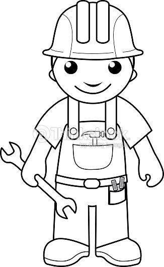 handyman coloring page for kids vector art