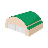 Hangar building cartoon icon on a white background