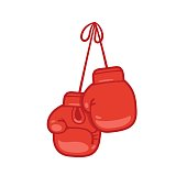 Hanging boxing gloves cartoon vector illustration.