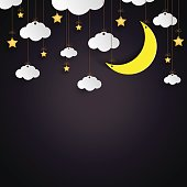 Hanging clouds,stars and moon paper art style on night background.Vector illustration.