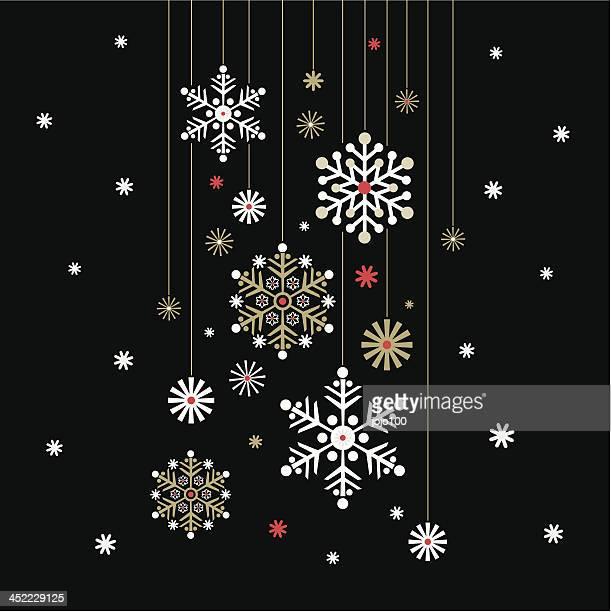 Hanging Snowflake on Black