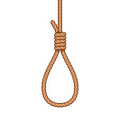 Hangman noose rope knot, cartoon style drawing. Suicide and death by hanging vector illustration.