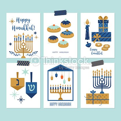 Hanukkah jewish holiday greeting card set design vector art thinkstock hanukkah jewish holiday greeting card set design vector art m4hsunfo Image collections