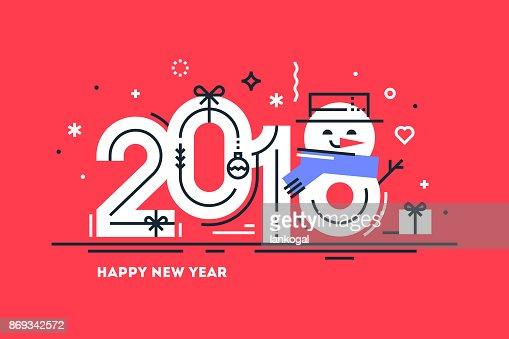 Happy 2018 Neujahr flache dünne Linie horizontal Grußkarte oder Banner mit niedlichen Schneemann stattdessen Nummer 8. Leuchtende Weihnachten Vorlage für Print oder Web. Vektor-Illustration. : Vektorgrafik