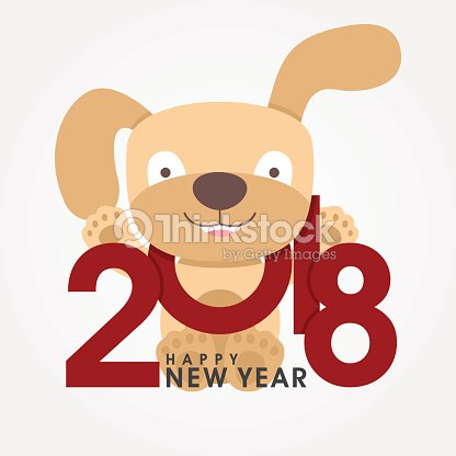 Happy 2018 new year greeting card chinese zodiac funny dog happy 2018 new year greeting card chinese zodiac funny dog congratulates on holiday m4hsunfo