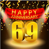 Vector Illustration Of Happy 69th Anniversary celebration with golden confetti and spotlight
