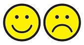 Happy and sad face icons. Smileys. Face symbols. Flat stile. Vector illustration.