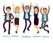 Happy and smiling workers, business people jumping flat vector characters. Happy worker character, team office people illustration