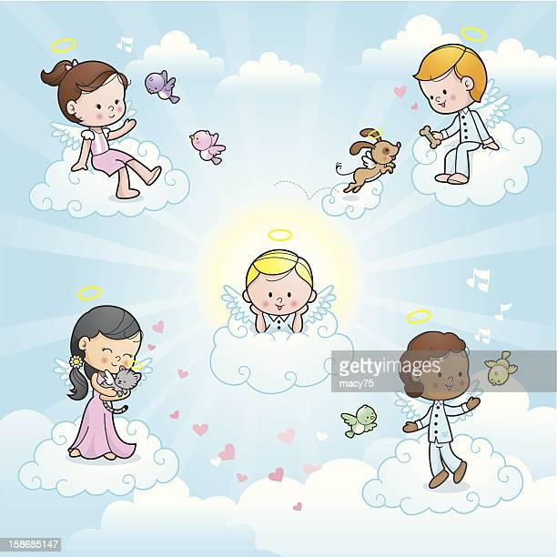 Happy angel kids in heaven