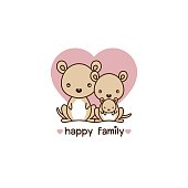 Happy animal family. Dad mom and  baby kangaroo cartoon vector illustration.