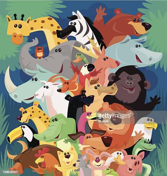 happy animals cheering