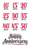 Happy anniversary sign collection. Vector illustration isolated on white background.