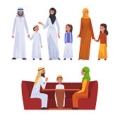 Happy Arab Families in National Clothes Set, Muslim Parents with Their Children Vector Illustration on White Background.