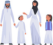 Happy Arab Family in National Clothes, Muslim Parents and Two Children Vector Illustration on White Background.