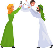 Happy Arab Family in Traditional Clothes, Muslim Parents Having Fun with Their Son Vector Illustration on White Background.