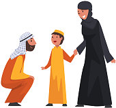 Happy Arab Family in Traditional Clothes, Muslim Parents with Their Son Vector Illustration on White Background.