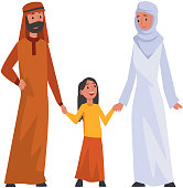 Happy Arab Family in Traditional Clothes, Muslim Parents with Their Smiling Daughter Vector Illustration on White Background.