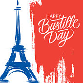 Happy Bastille Day, 14th of July brush stroke holiday greeting card in colors of the national flag of France with Eiffel tower and hand lettering. Vector illustration.