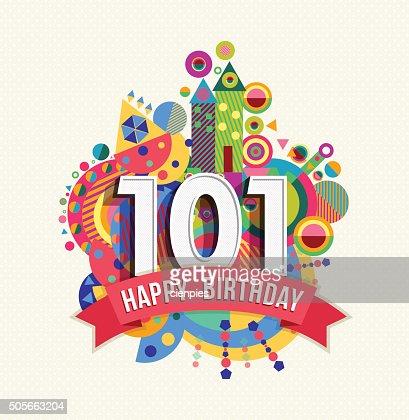 Joyeux Anniversaire 101 Annee Carte De Voeux Affiche De La Couleur