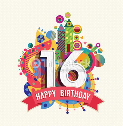 Happy Birthday 16 Year Greeting Card Poster Color Vector Art