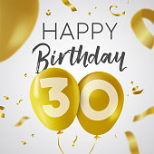 Happy Birthday 30 thirty years, luxury design with gold balloon number and golden confetti decoration. Ideal for party invitation or greeting card. EPS10 vector.